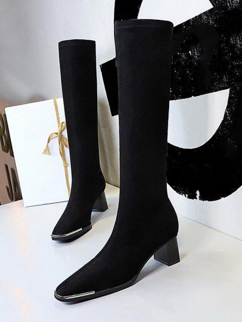 buy Block Heel Suede Knee Length Boots - BLACK EU 39 Mobile