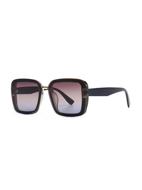 Full Frame Retro Square Sunglasses - منتصف الليل الأزرق  Mobile