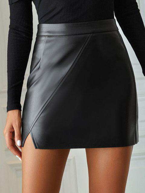 chic Faux Leather Raw Hem Bodycon Skirt - BLACK M Mobile