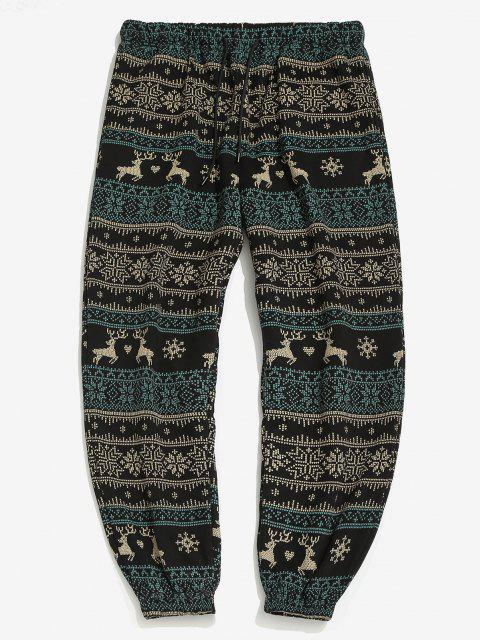 Christmas Snowflake Elk Print Fleece Jogger Pants - أسود XL Mobile