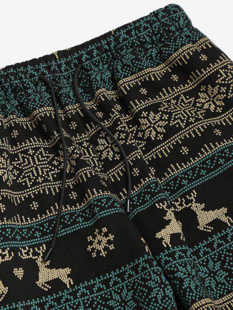 chic Christmas Snowflake Elk Print Fleece Jogger Pants - BLACK XL Mobile