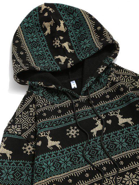 shops Christmas Snowflake Elk Print Fleece Hoodie - BLACK M Mobile