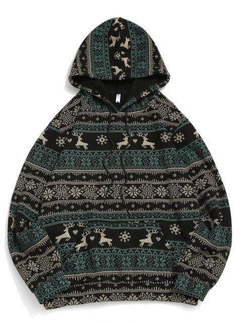 Christmas Snowflake Elk Print Fleece Hoodie - أسود M Mobile