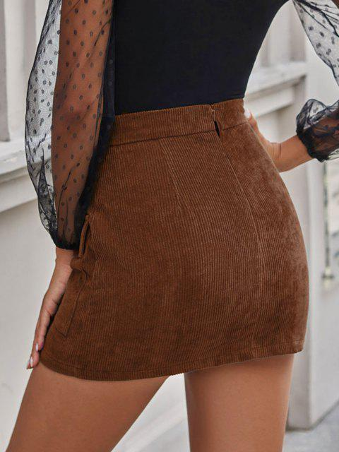 outfit Flap Pocket Corduroy Bodycon Skirt - COFFEE M Mobile