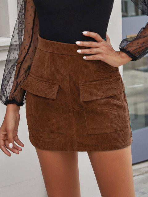 Flap Pocket Corduroy Bodycon Skirt - قهوة M Mobile
