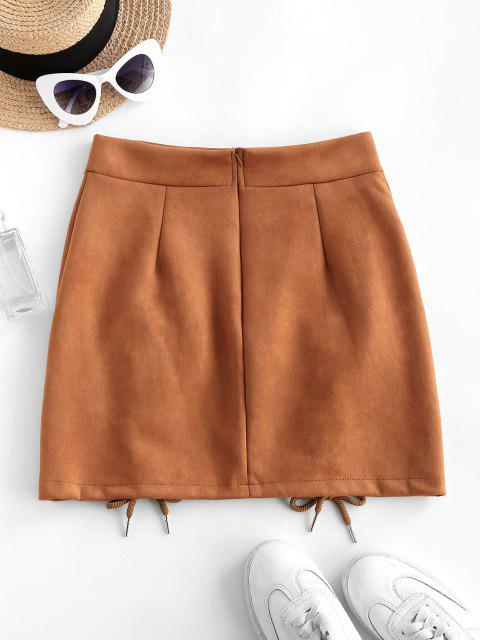 shop Lace-up Suede Bodycon Skirt - COFFEE XL Mobile