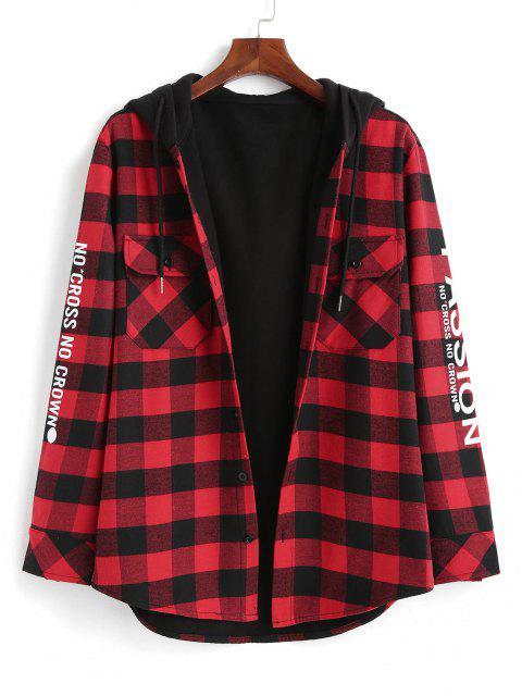 Plaid Passion Slogan Print Fleece Lined Hooded Shirt Jacket - أحمر M Mobile