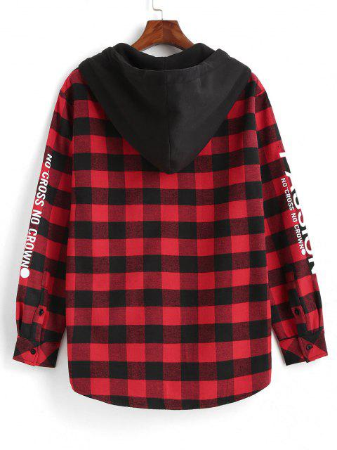 womens Plaid Passion Slogan Print Fleece Lined Hooded Shirt Jacket - RED L Mobile
