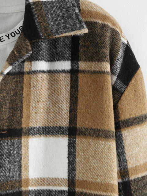 latest ZAFUL Plaid Long Sleeve Shirt - LIGHT COFFEE XL Mobile