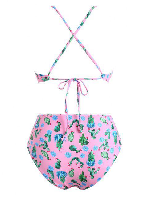 women's ZAFUL Plus Size Cactus Print Padded Bikini Set - LIGHT PINK XXL Mobile