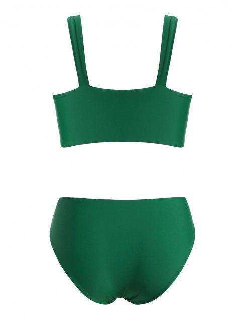 latest ZAFUL High Waisted Ruched Cut Out Plus Size Bikini Swimwear - DEEP GREEN XL Mobile