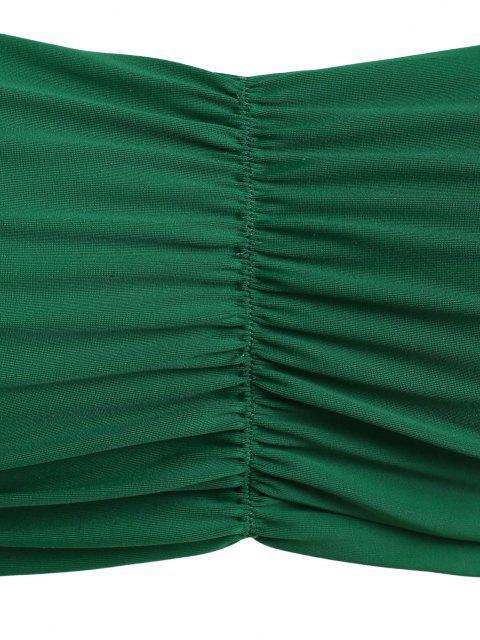 ZAFUL Maillot de Bain Bikini Découpé à Taille Haute de Grande Taille à Volants - Vert profond XXXL Mobile