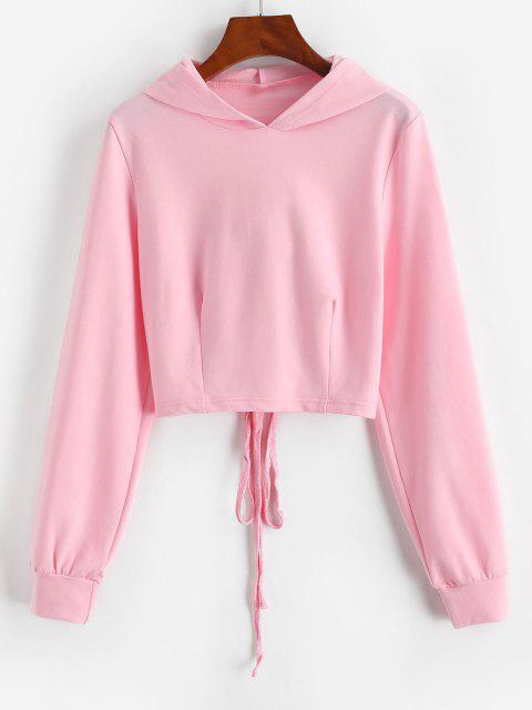 trendy Lace-up Open Back Crop Hoodie - LIGHT PINK M Mobile
