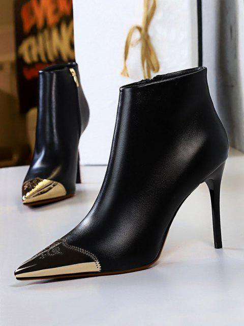 fancy Metal Pointed Toe Ankle Boots - BLACK EU 37 Mobile