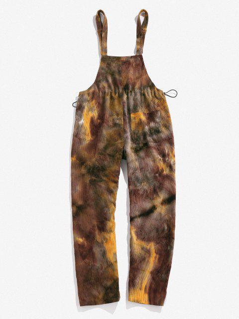 shop ZAFUL Tie Dye Corduroy Overall Pants - COFFEE L Mobile
