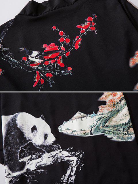 outfit Panda Flower Paint Print Open Front Kimono Cardigan - BLACK L Mobile