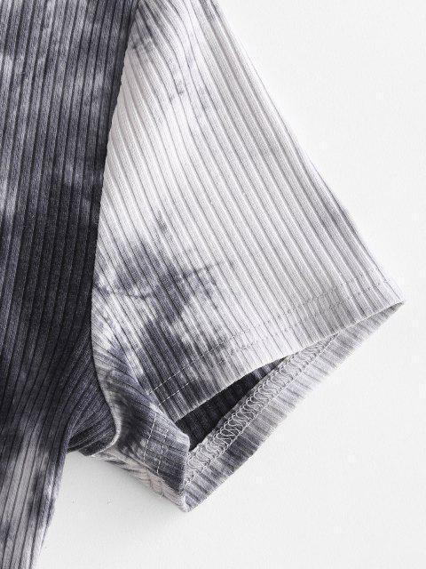 women ZAFUL Ribbed Tie Dye Surplice Cropped Tee - BLACK M Mobile