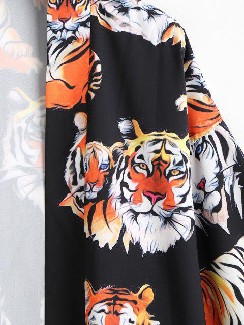 outfit Open Front Tiger Pattern Kimono Cardigan - BLACK 2XL Mobile