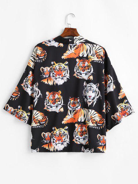 unique Open Front Tiger Pattern Kimono Cardigan - BLACK L Mobile