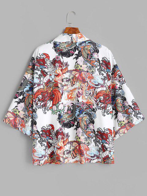 fancy Dragon Koi Fish Print Chinoiserie Kimono Cardigan - MILK WHITE L Mobile