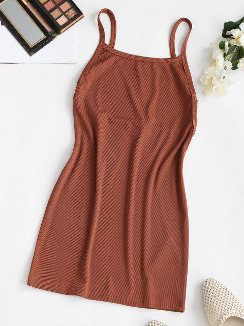 trendy Ribbed Backless Mini Bodycon Dress - COFFEE S Mobile