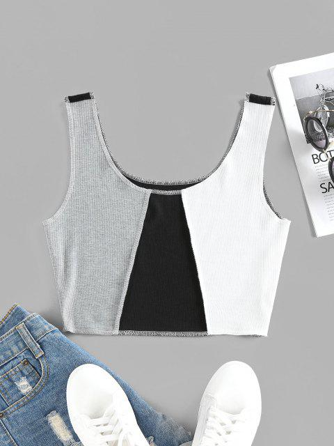 ZAFUL Colorblock Topstitching Crop Tank Top - أسود L Mobile