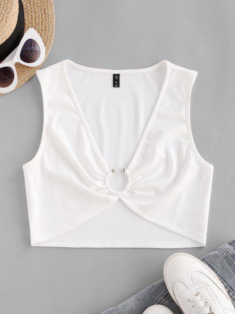 online Plunging Ring Linked Crop Tank Top - WHITE L Mobile