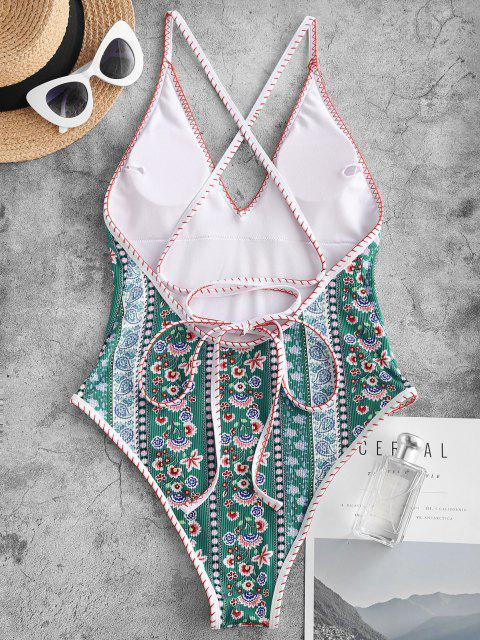 latest ZAFUL Bohemian Flower Lace Up Backless One-Piece Swimsuit - GREEN M Mobile
