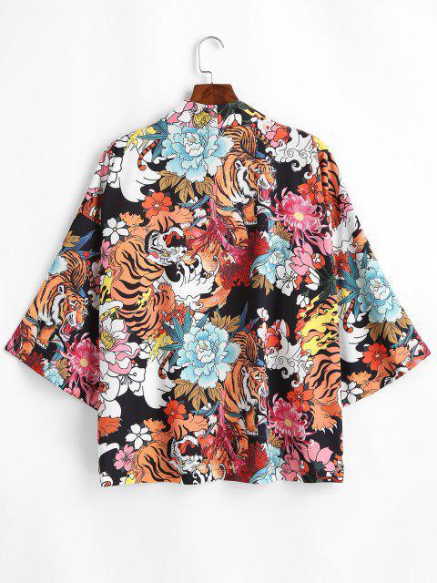 ladies Tiger Flower Chinoiserie Kimono Cardigan - BLACK XL Mobile