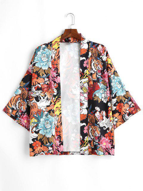 Tiger Flower Chinoiserie Kimono Cardigan - أسود M Mobile