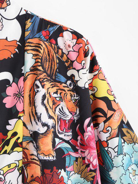 online Tiger Flower Chinoiserie Kimono Cardigan - BLACK M Mobile