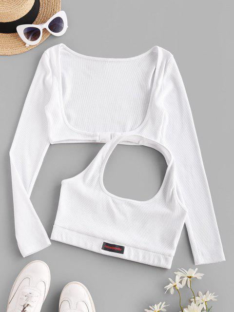 chic Halter Rib-knit Tank and Long Sleeve Buckled Top - WHITE L Mobile
