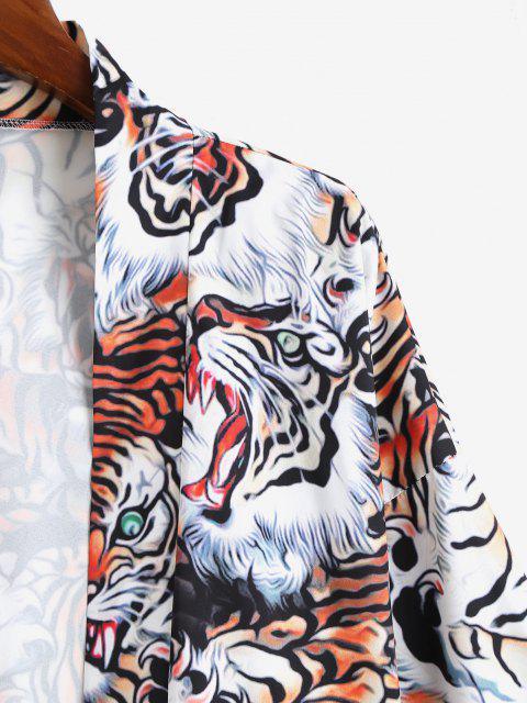 Cardigan Kimono Tigre Ouvert en Avant Partout - Orange Tigre S Mobile