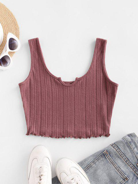 ZAFUL Lettuce Trim Notched Knitted Crop Top - روزي براون L Mobile