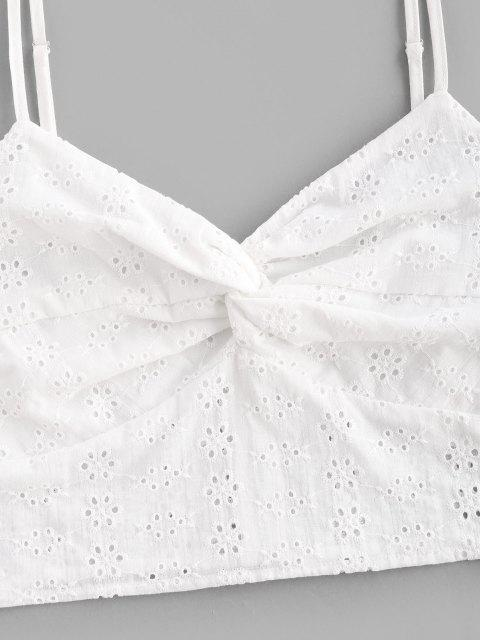 chic ZAFUL Front Twist Broderie Anglaise Crop Top - WHITE L Mobile