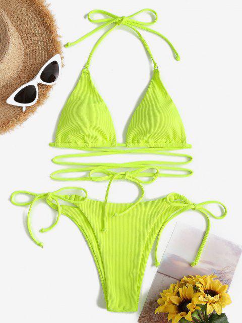 ZAFUL Gerippter O Ring Halter Bikini Badebekleidung - Gelb Grün S Mobile