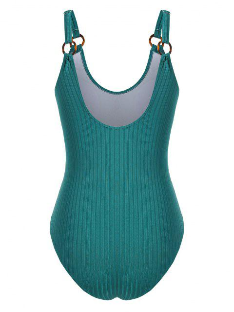 outfits ZAFUL O-ring Ribbed Plus Size One-piece Swimsuit - DEEP GREEN XL Mobile
