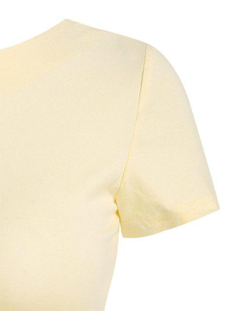 Camiseta emagrecedora de mangas longas de tranpasse de cordão nas Costas - Luz amarela S Mobile