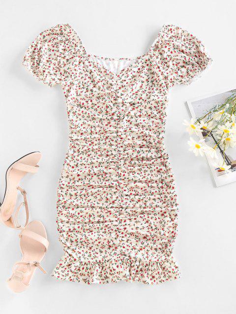 ZAFUL Ditsy Print Puff Sleeve Ruched Mini Mermaid Dress - أبيض S Mobile