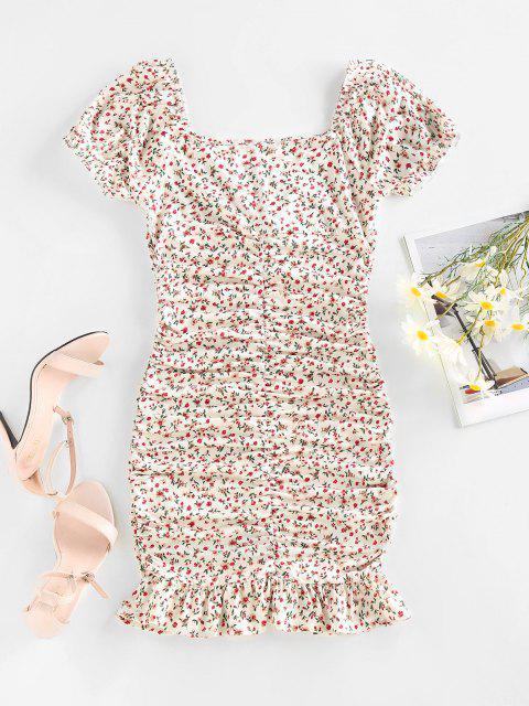 ZAFUL Ditsydruck Puff Ärmel Mini Meerjungfrau Kleid - Weiß S Mobile