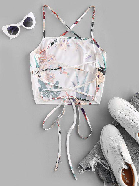 ZAFUL Lace Up Crisscross Printed Crop Top - أبيض M Mobile