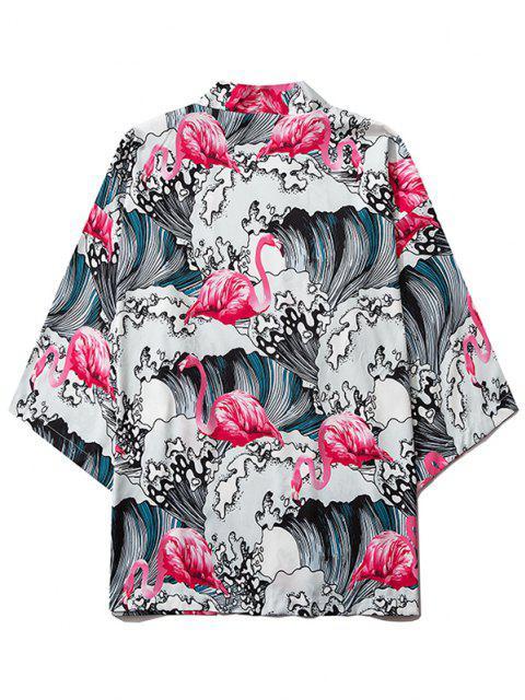 Meer Welle Flamingodruck Kimono mit Offener Vorderseite - Erröten Rot L Mobile