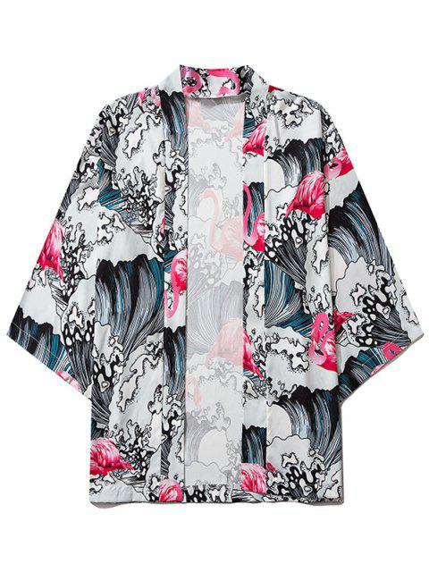 latest Sea Waves Flamingo Print Open Front Kimono Cardigan - BLUSH RED 2XL Mobile