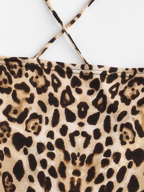 Top Stampato Leopardo con Lacci Incrociati Senza Schienale - Multi Colori M Mobile