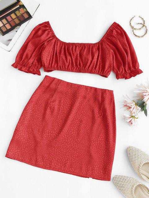 buy Jacquard Puff Sleeve Tied Two Piece Skirt Set - RED L Mobile