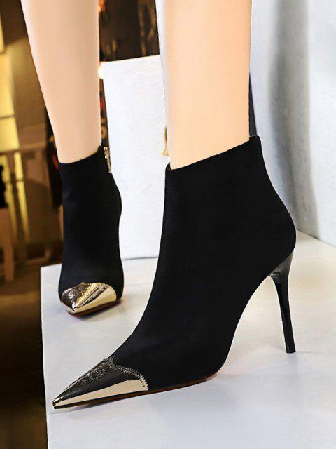 chic Metal Pointed Toe Suede Boots - NATURAL BLACK EU 40 Mobile
