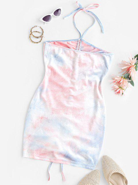 latest Tie Dye Velvet Cinched Bodycon Ruched Dress - LIGHT BLUE S Mobile