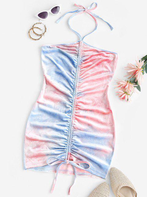 Vestido Terciopelo Fruncido de Teñido Anudado - Azul claro S Mobile