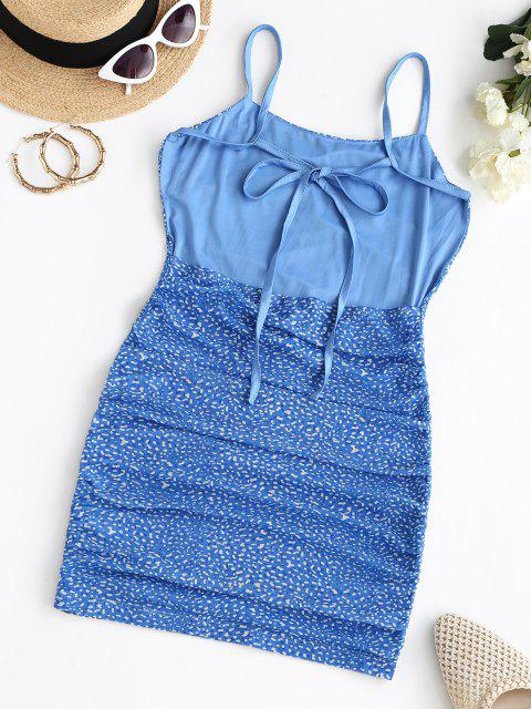 women's Mesh Ditsy Print Backless Ruched Cami Dress - BLUE L Mobile