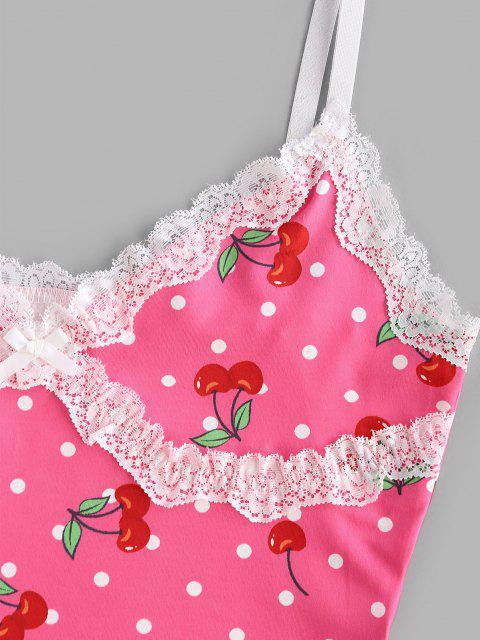 Camisole Cerise Imprimée Panneau en Dentelle à Pois - Rose Léger  S Mobile